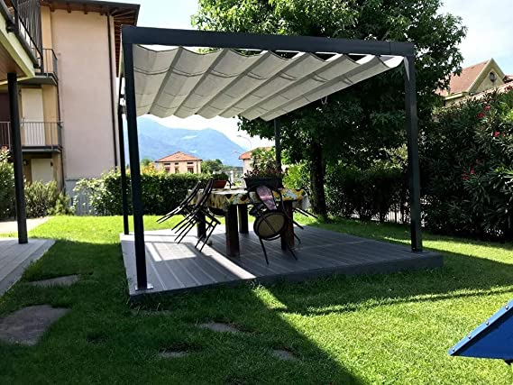 QEEQ.IT - Pérgola retráctil 4 x 4, estructura antracita y tela ...
