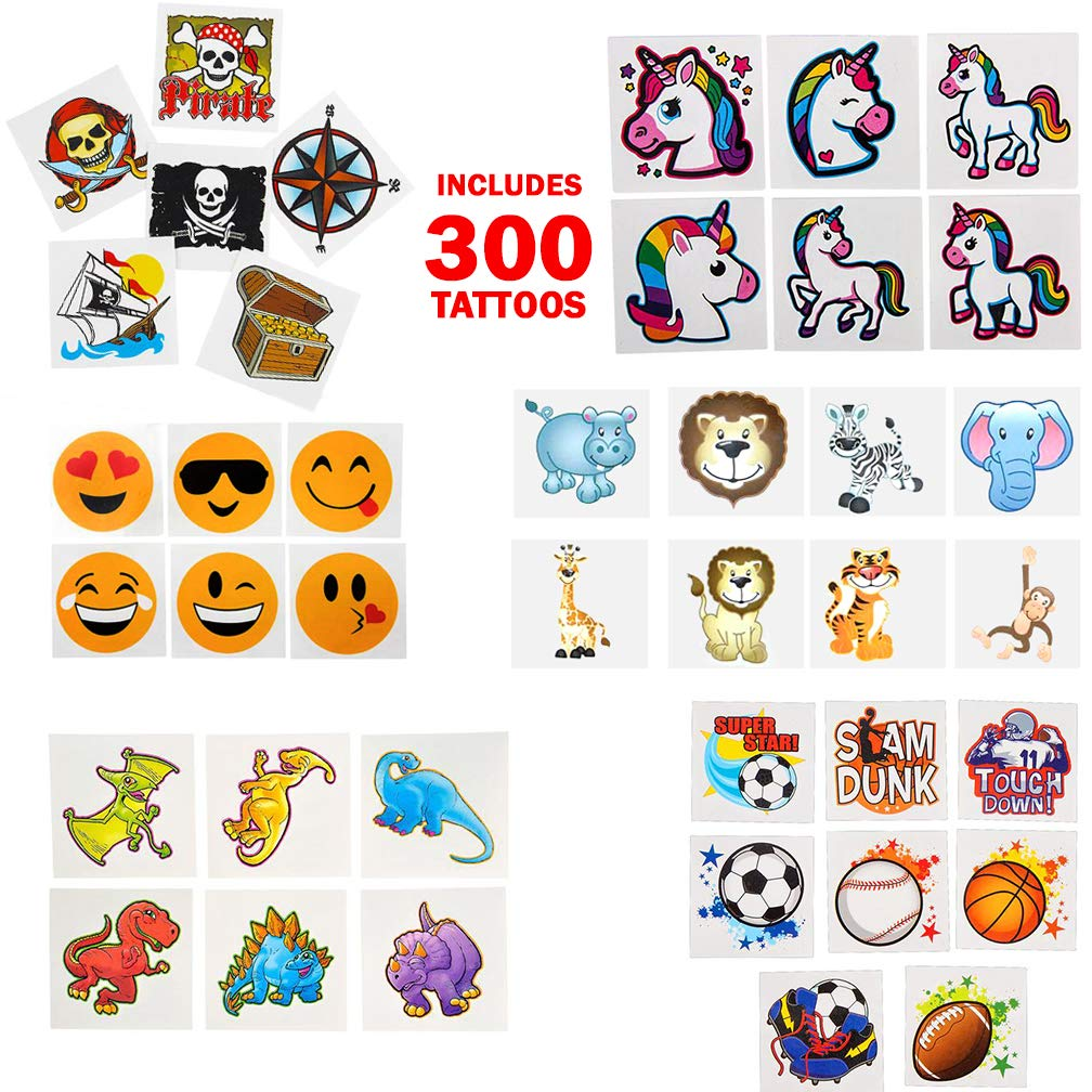 360 piece Tattoo Assortment Bundle Kid/'s Birthday Party Favors