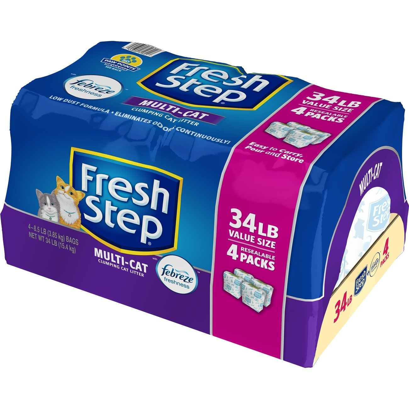 Fresh Step Multi-Cat with Febreze Freshness, Clumping Cat Litter, Scented, 34 Pounds, Resealable 4 Packs by Fresh Step