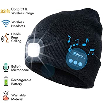 c7765b8a3 ATNKE LED Lighted Bluetooth Beanie Cap, USB Rechargeable Wireless Musical  Running Hat Ultra Bright 4 LED Waterproof Light Lamp Use for Skiing Hiking  ...