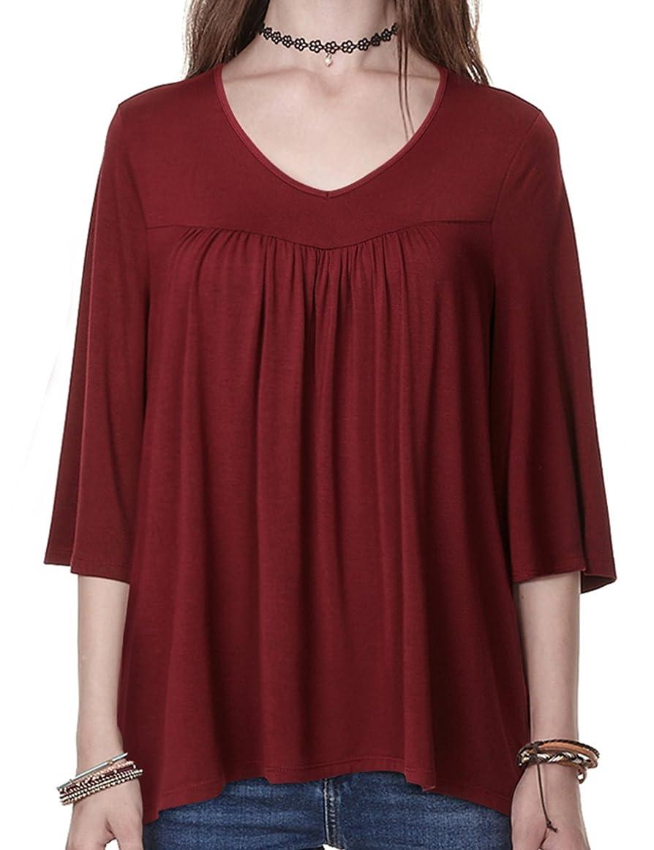 Regna X BOHO Women's Ruffle Hem Babydoll Shirts Blouses Tops (3styles, S-2XL)