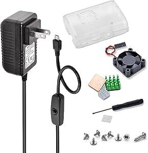 Aukru Raspberry Pi 3 B+ Case kit with Fan Heatsinks, 5V 3A Power Supply with On/Off Power Switch for Raspberry Pi 3 B+, Pi 3 Model B, Pi 2 Model B