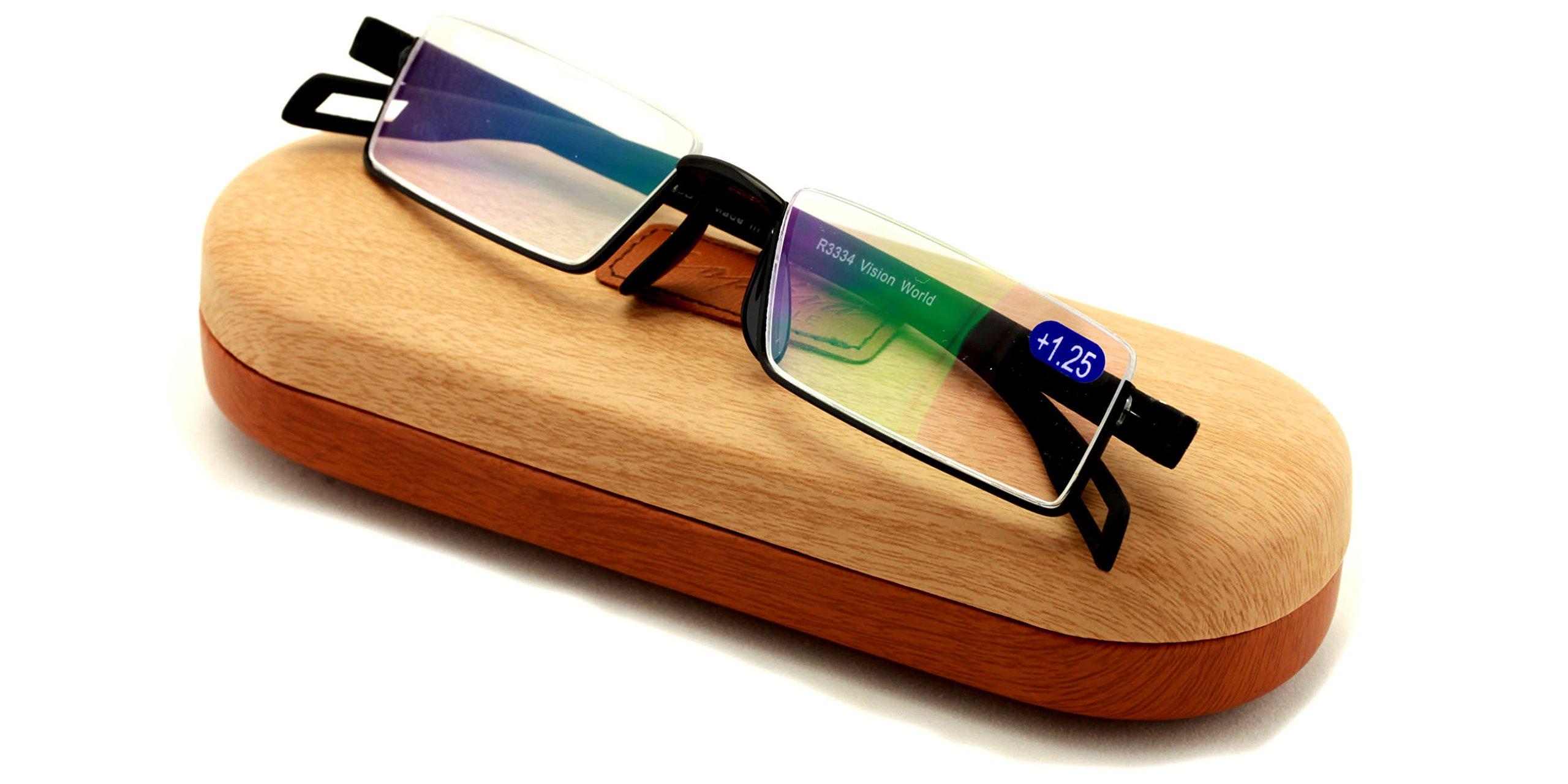 Featherweight Slim Half Rim Memory Flex Reading Glasses With Anti-reflective AR Coating (black, 1.50) by Vision World Eyewear