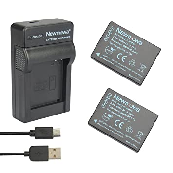 Newmowa® 2x Batería DMW-BCG10 + Micro USB Cargador para Panasonic DMW-BCG10, DMW-BCG10E, DMW-BCG10PP and Panasonic Lumix DMC-3D1, DMC-TZ6, DMC-TZ7, ...