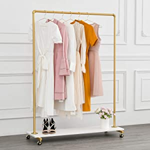 BOSURU Modern Rolling Clothing Rack on Wheels Industrial Pipe Clothes Rack with Wood Shelf Heavy Duty Metal Garment Rack for Laundry Room, Retail Store Gold 47