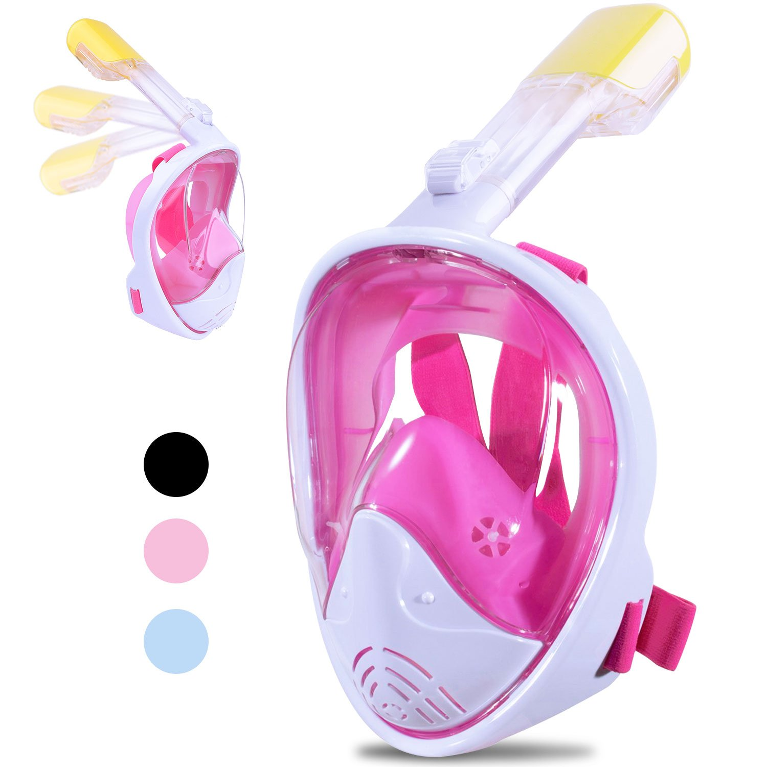 Greatever [2018 Newest Version] View Panoramic Snorkel Set, Dry Top Set Anti-Fog Anti-Leak for Adults&Kids(Pink, S/M)