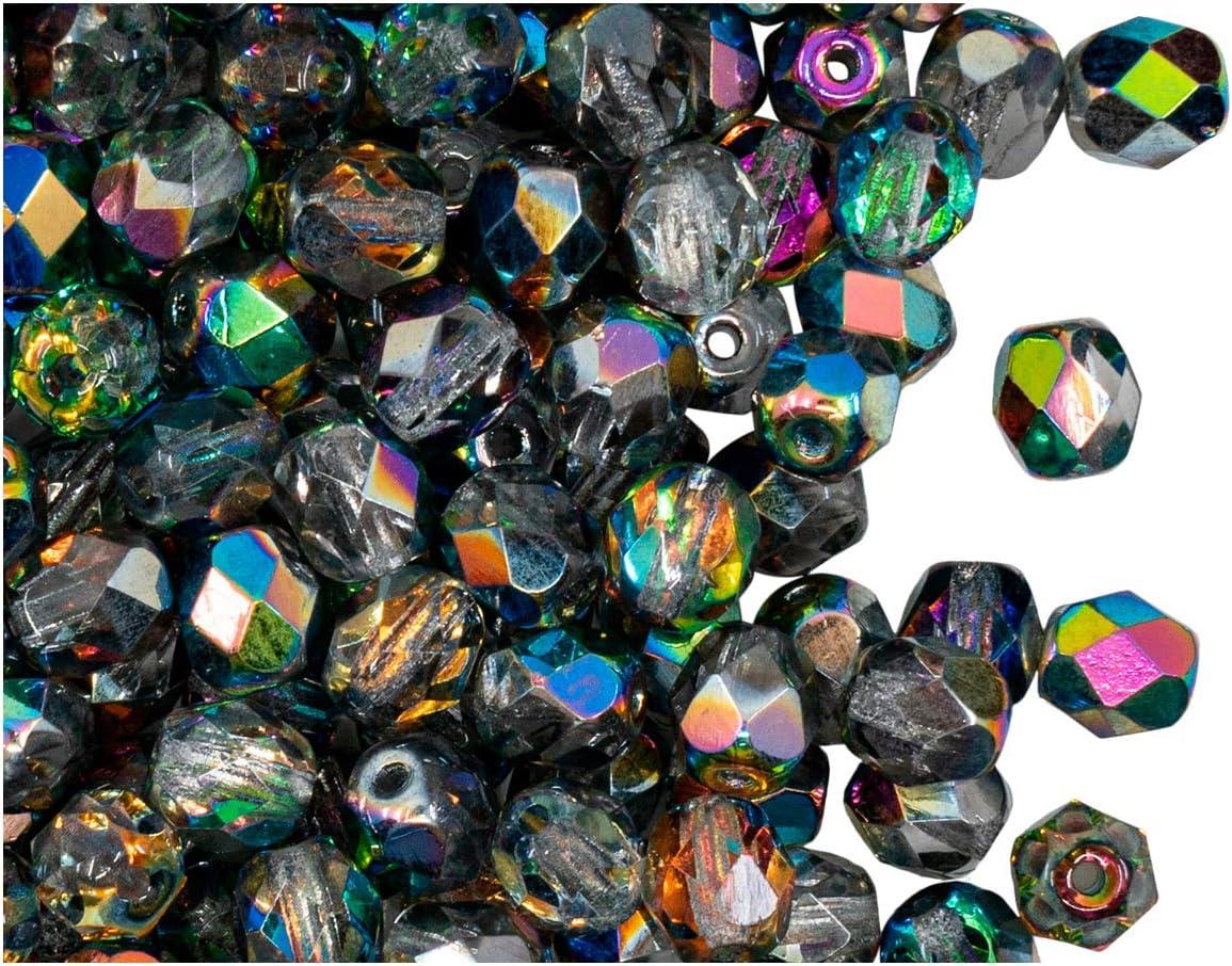 Fire-Polished Beads, 6 mm, 50 piezas, cuentas redondas checas de vidrio facetado, pulido al fuego, Crystal/Vitrail (transparent, half mixture of rainbow colors)