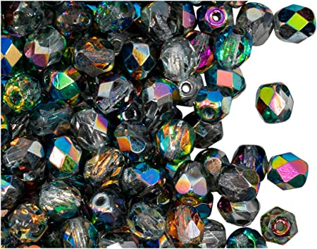 100 Vidrio Cristal 6 mm redonda granos de jet
