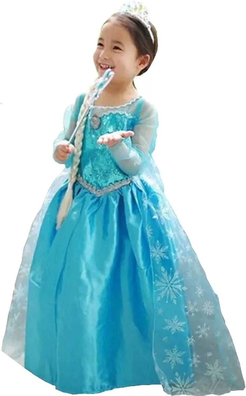 Vestido Frozen Niñas Disfraz ANNA ELSA (100 (2-3 años)): Amazon.es ...