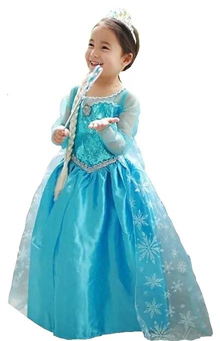 Vestido Frozen Niñas Disfraz Anna Elsa 120 4 5 Años