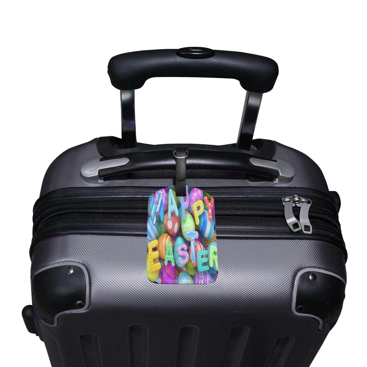 1Pcs Saobao Travel Luggage Tag Holidays Easter Eggs Design English PU Leather Baggage Suitcase Travel ID Bag Tag