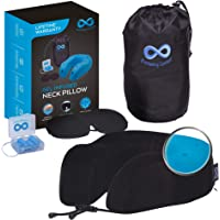 Everlasting Comfort 100% Memory Foam Travel Neck Pillow, Gel Infused & Ventilated, Airplane Accessory Kit with Sleep Mask and Earplugs, Black