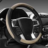 """SEG Direct Black and Beige Microfiber Leather Steering Wheel Cover for F-150 Tundra Range Rover 15.5"""" - 16"""""""