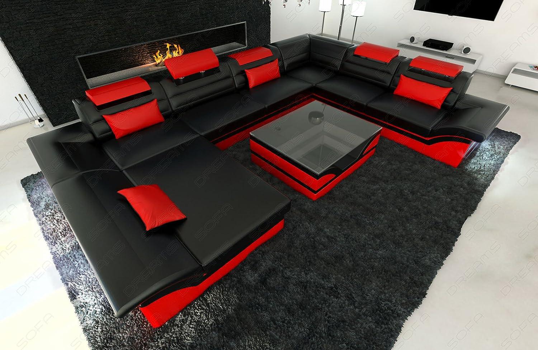Sofa wohnlandschaft enzo xxl designer couch led schwarz rot