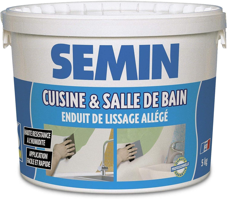 Semin A19 Enduit de Lissage Cuisine et Salle de Bain, Adapté aux Pièces  Humides, Seau de 19 kg
