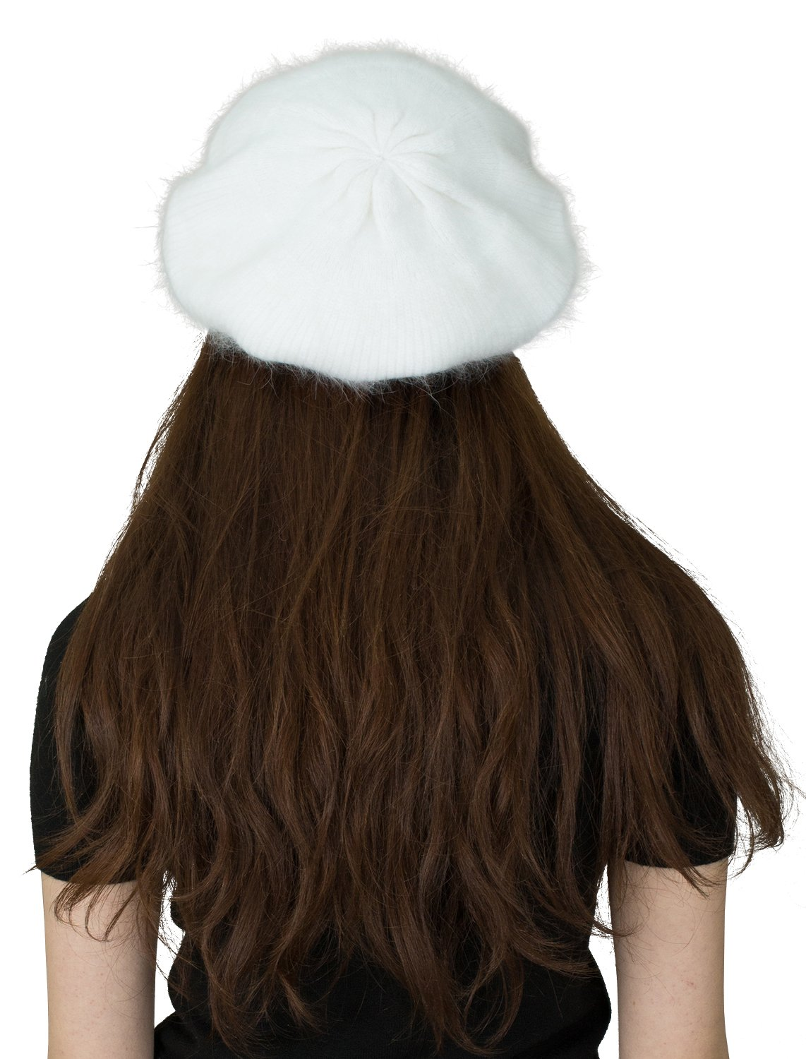 CapHouse Fine Ribbed Womens Angora Knit Winter Beanie Hat,Cream by CapHouse (Image #4)