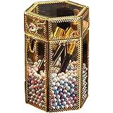 メイクブラシホルダー ヴィンテージガラス製クリア六角メイクブラシ収納ボックス 人魚姫色の真珠付き