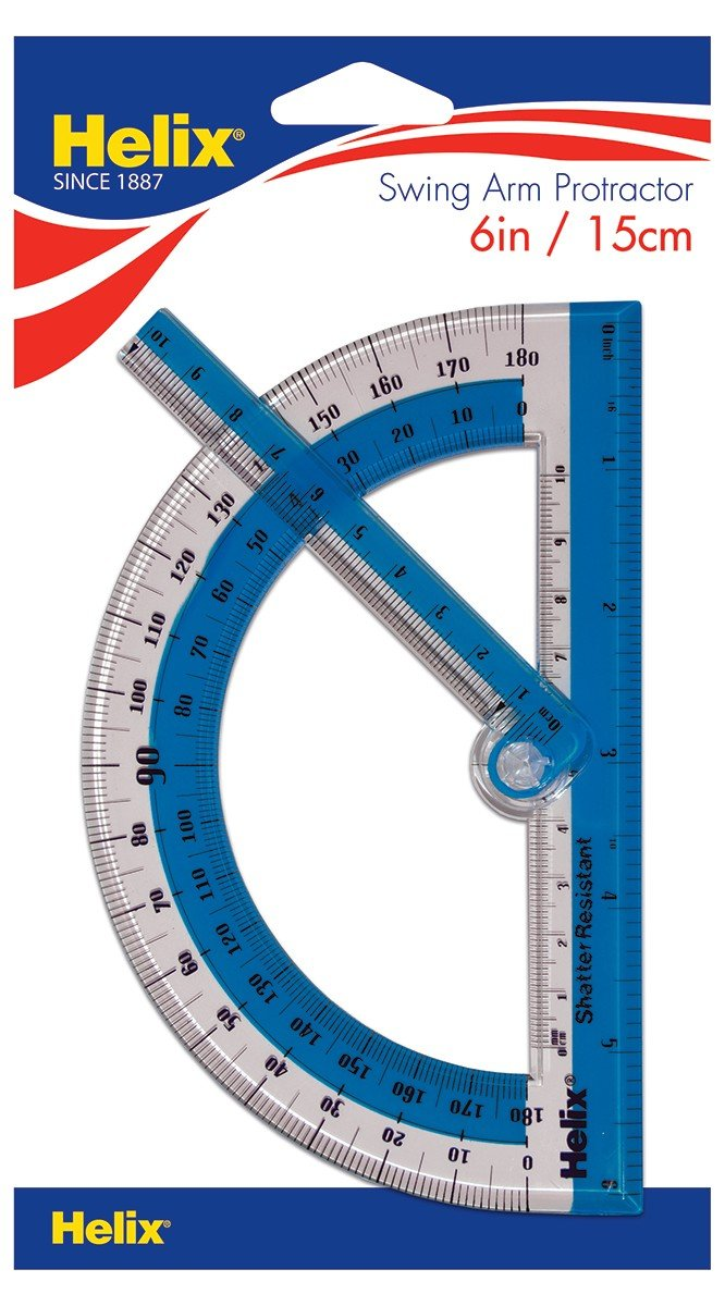 Helix 180° Shatter Resistant Swing Arm Protractor 6'' / 15cm (60009)