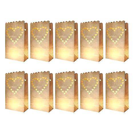 10 x luces bolsas/bolsas de luz diseño: corazón de papel ...