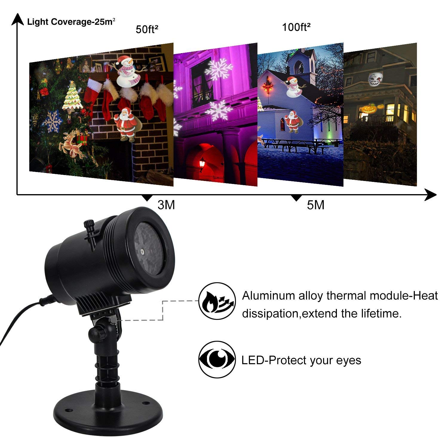Christmas LED Projector Light, Outdoor Waterproof High Brightness Light Show with 32ft Cable & Remote Control for Christmas, Party and Holiday Decorations (16 Patterns) by Tunnkit (Image #3)