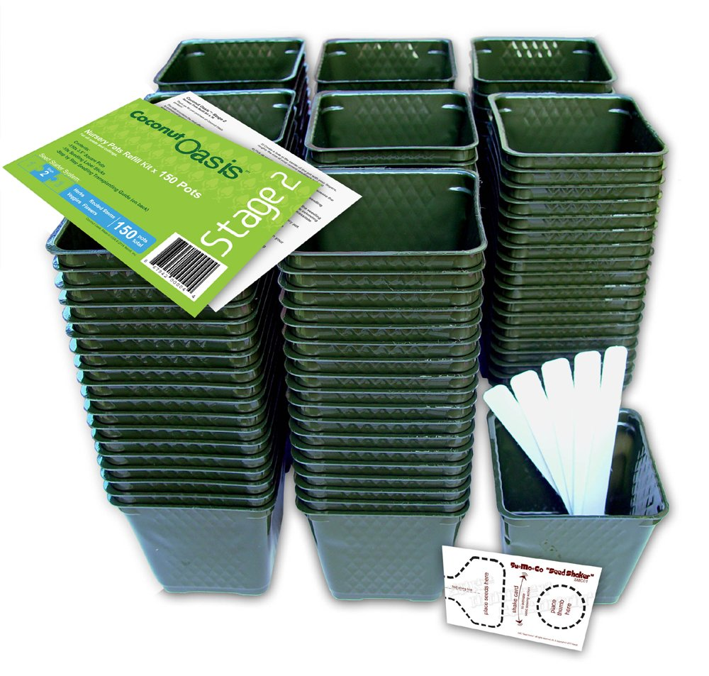 Set of 150 Plastic Nursery Plant Pots, ''Seed Shaker'' Card and 5 Plant Labels. Color: Green, Seedling Containers by Coconut Oasis