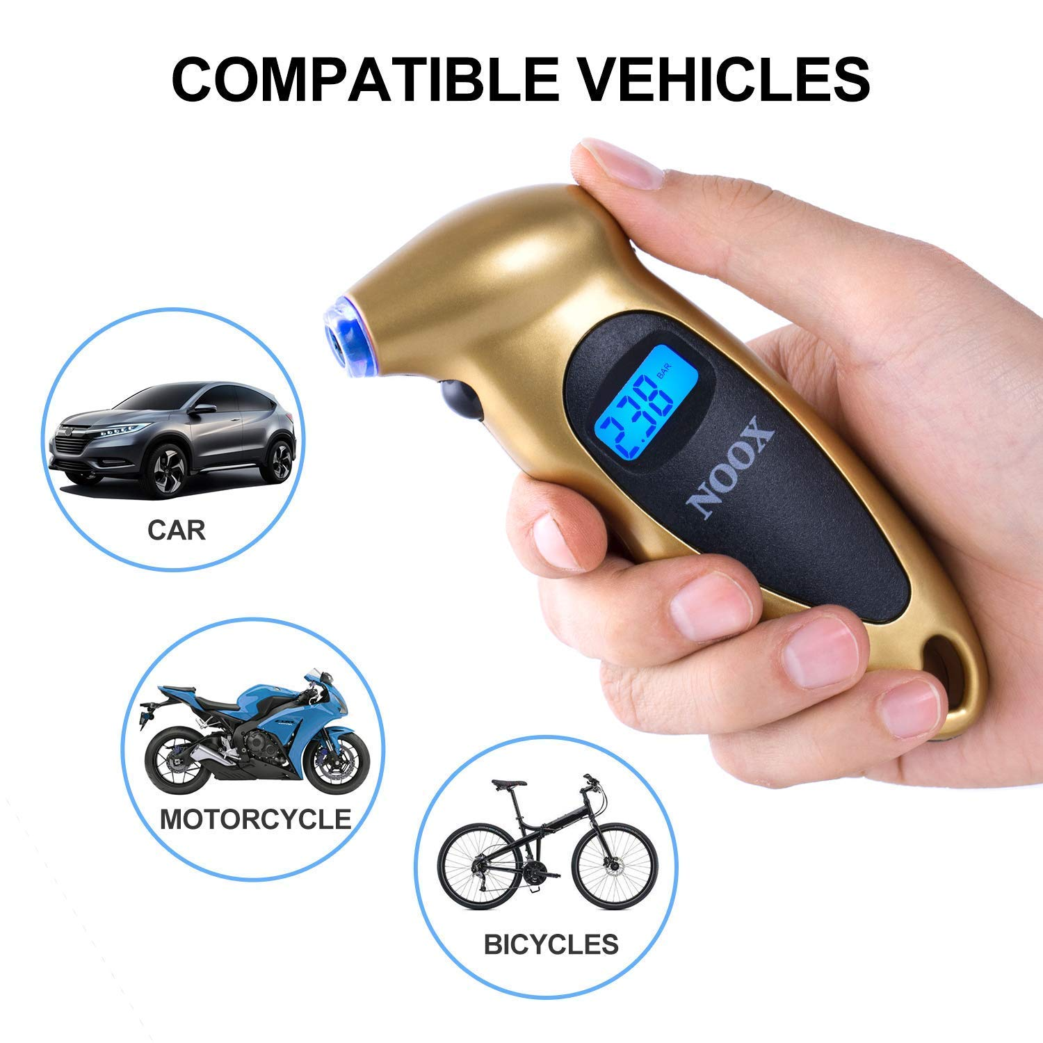 Gold NOOX Accurate Digital Tire Pressure Gauge for Car Truck Motocycle Bicycle Jeep Sedan Limousine Wagon Tires 150 PSI