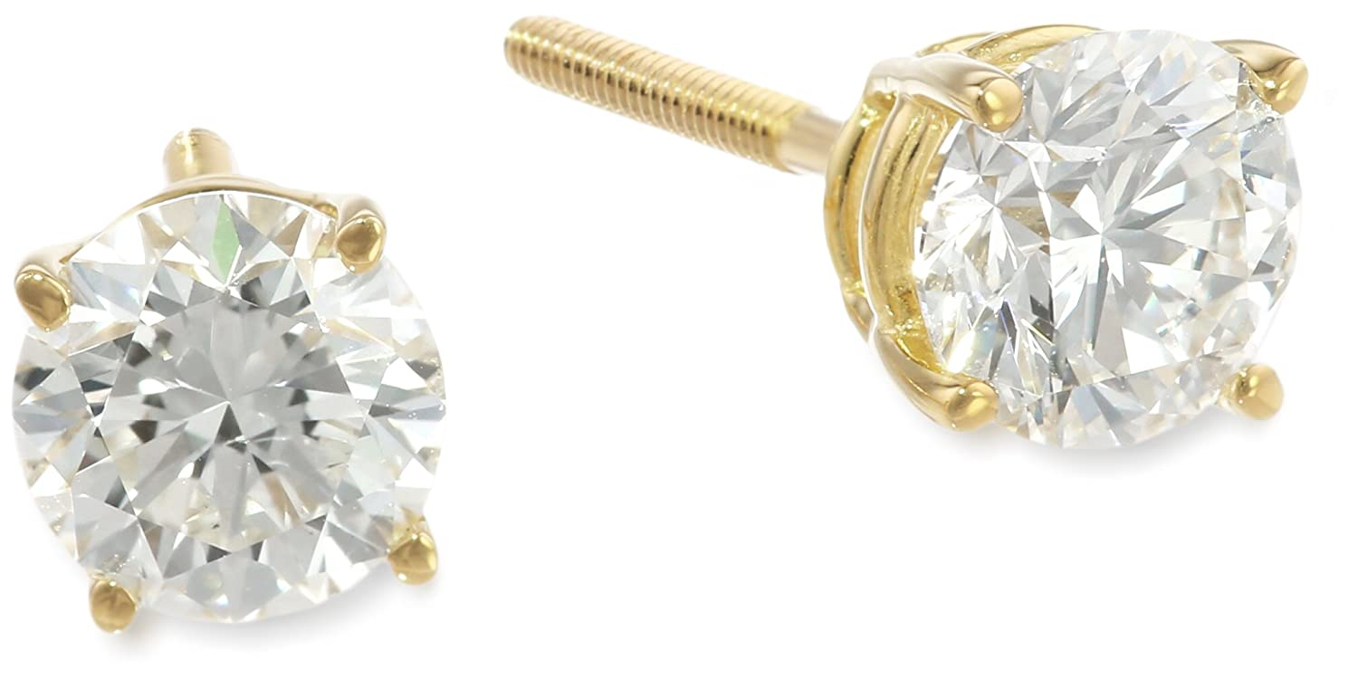 IGI-Certified 18k Gold Round-Cut Diamond Stud Earrings (1 1/2 cttw, H-I Color, SI1-SI2 Clarity)