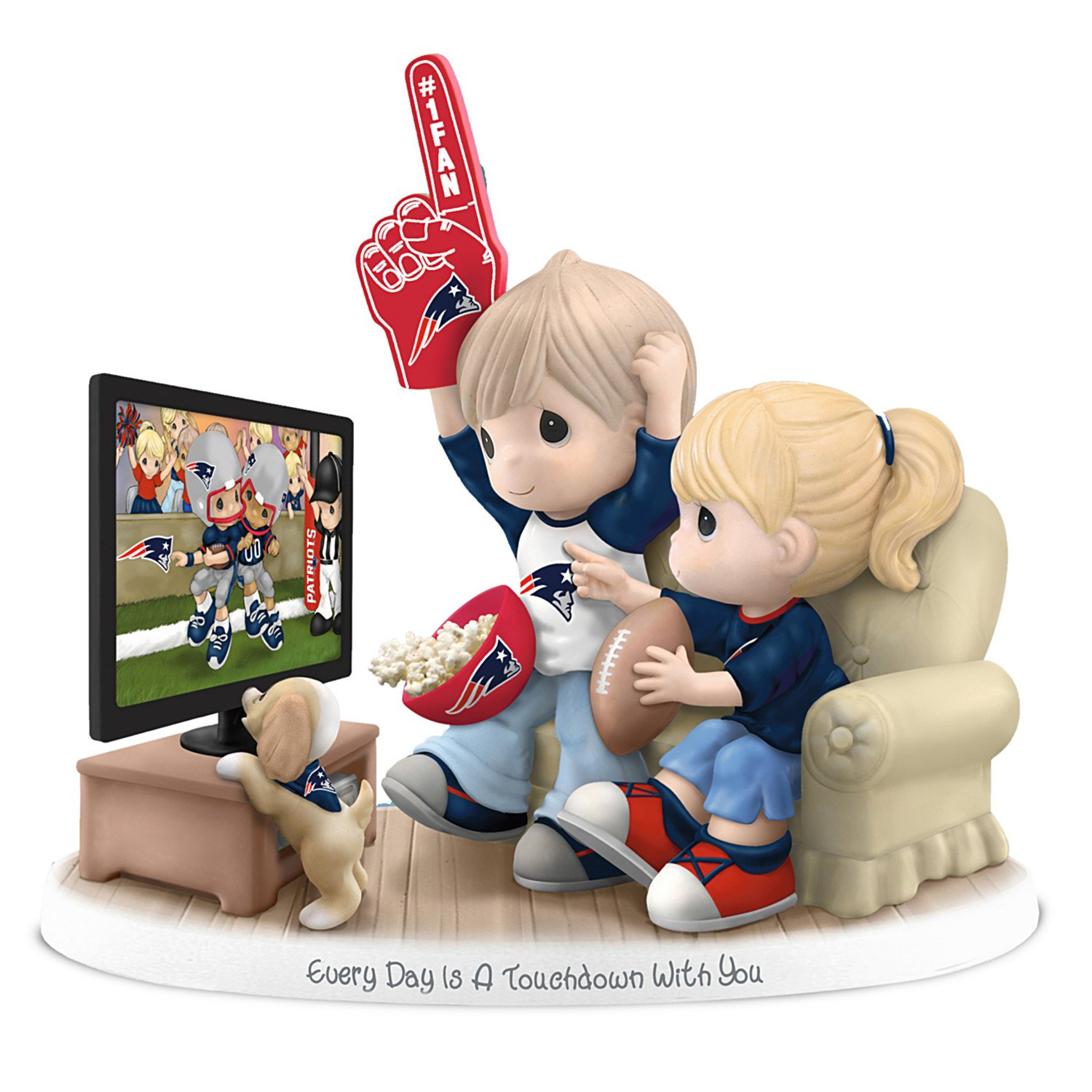 Figurine: Precious Moments Every Day Is A Touchdown With You Patriots Figurine by The Hamilton Collection