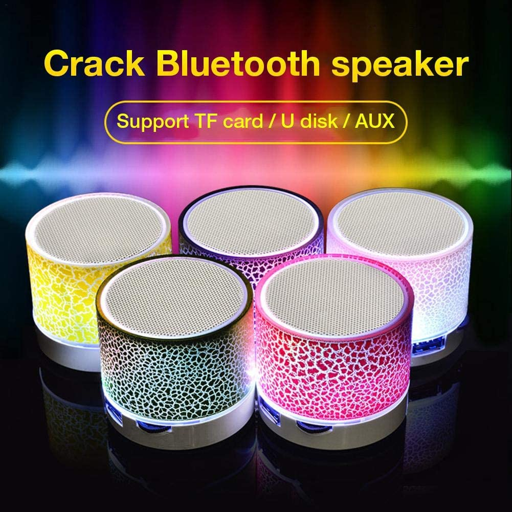 Wireless Bluetooth Colorful Light Small Crack Sound Speaker Audio Mobile Phone Mini Subwoofer Bluetooth Portable Speaker Support TF Card//U Disk//AUX
