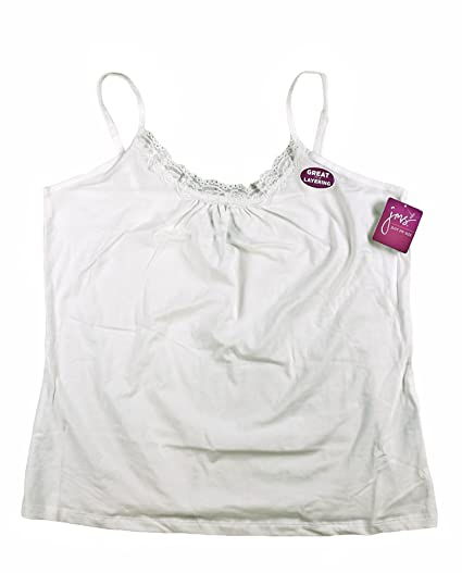 444e558e343 JMS Plus Size Womens Camisole White Lace Cotton Tank Cami Top 1X 2X 3X NWT (