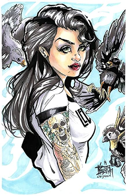 6fa9dc87 Amazon.com: for The Birds by Kris Chisholm Woman w Raven Tattoo ...