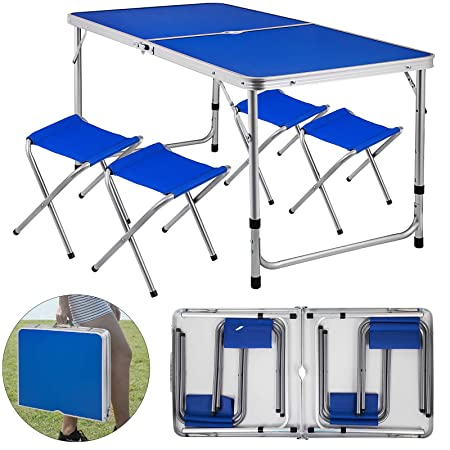 Happybuy Folding Picnic Table Blue 4 Person Camping Table and Chairs with 4 Benches Portable Table and Chair Set 47.2 L X 23.6 W Office Learning Beach Camping Garden Outdoor