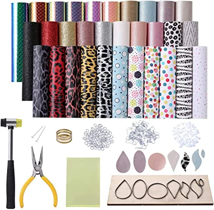 Jump Ring Opener Jump Rings Hammer Faux Leather Earring Making Kit Include 5 Kinds Leather Sheets Wooden Die Cutting Leather Earring Mold Pliers Earring Backs Transparent Pad Earring Hooks