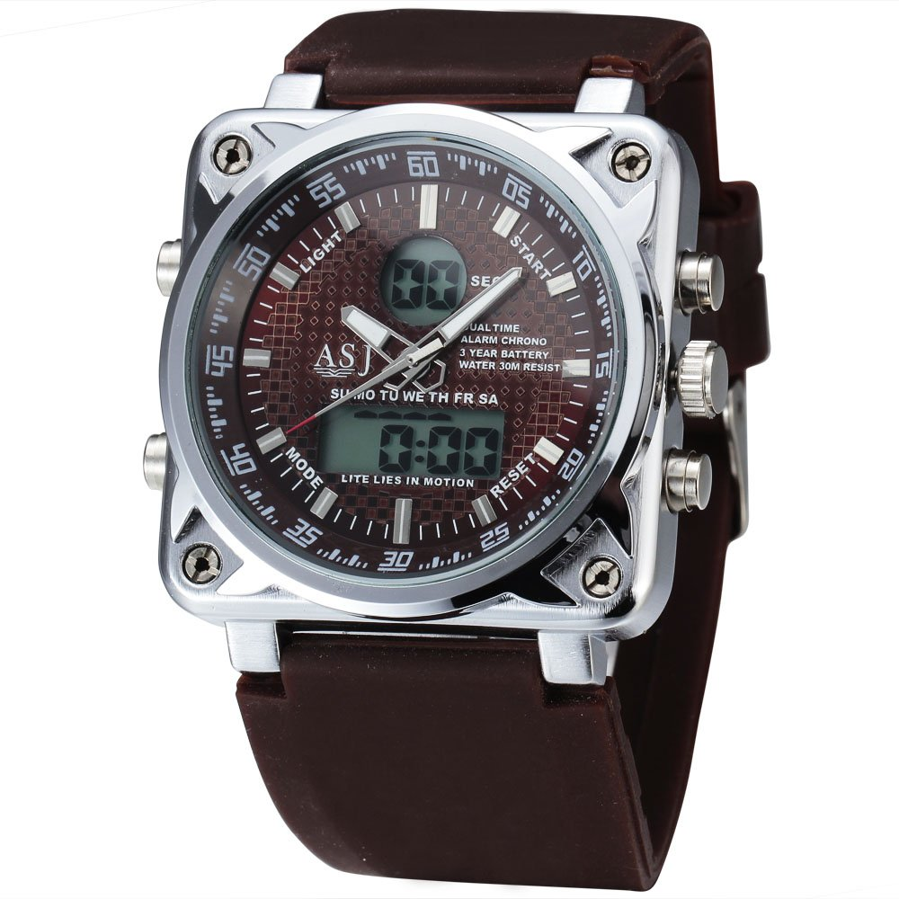 ASJメンズ機能ミリタリースポーツクォーツ腕時計、ゴム製ストラップ 3# B072F7RX463#