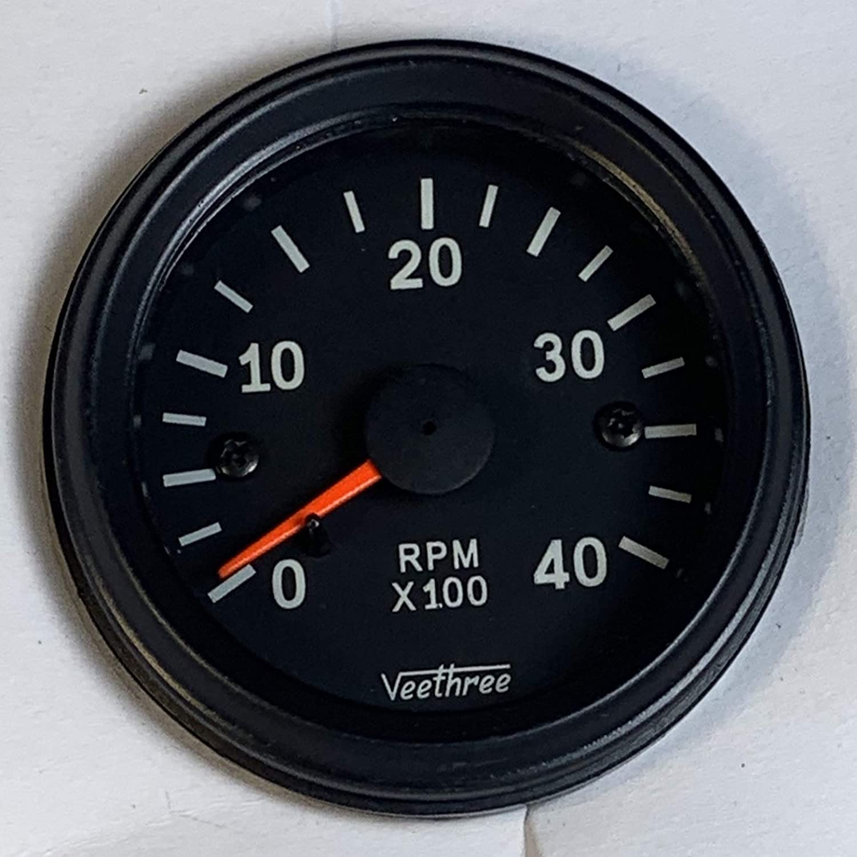 Veethree Tachometer 52mm Electronic 0 – 4000 RPM (Black Bezel/Black dial)