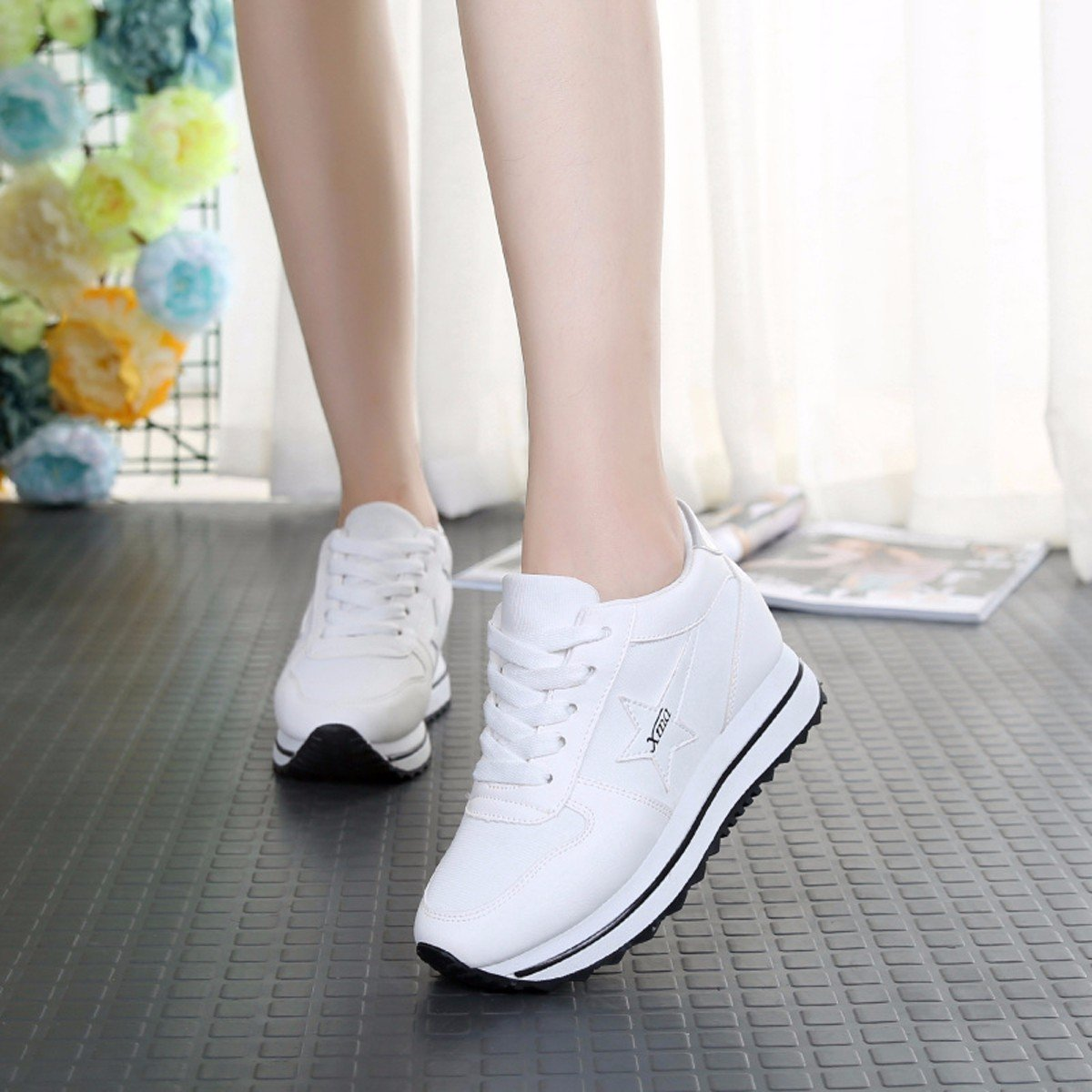 GTVERNH Women's shoes/Summer/In Spring Sneakers Thick Bottomed Shoes Women'S Shoes Casual Sports Leisure Higher Travel Shoes Thirty-Six White