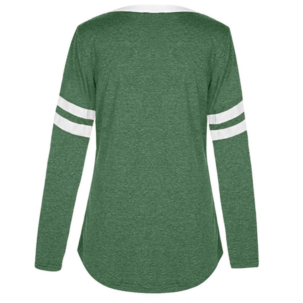 Alluing Summer Casual Women V Neck Long Sleeve Pocket Blouse Tops T Shirt