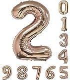 40インチ 風船 (0-9)ローズゴールドの数字ヘリウムの誕生日パーティーの装飾のアラビア数字2