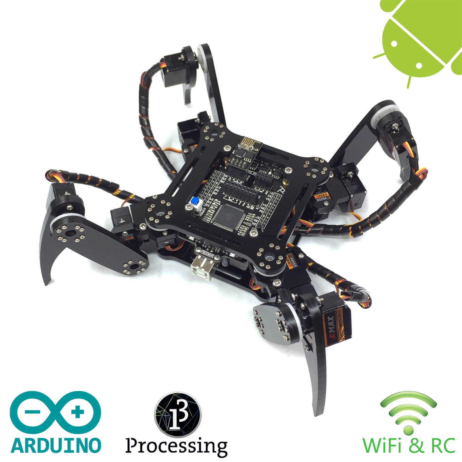 Freenove Quadruped Robot Kit | Arduino Robot Project | Spider Walking Crawling 4 Legged | Detailed Tutorial | Android APP | WiFi Wireless 2.4G Servo