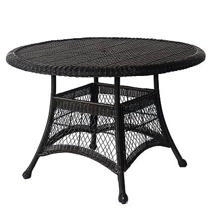 Amazoncom Jeco WDD Wicker Round Dining Table Black - White wicker round dining table