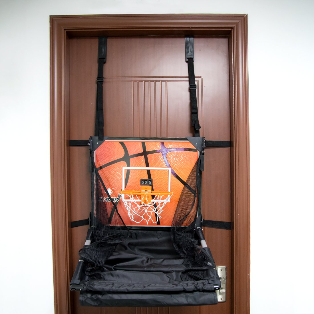 Basketball Shooting Machine PINCHUANGHUI Door Hanging Automatic Scoring Basketball Shooting Machine Foldable Shooting Hoop - Main Black by PINCHUANGHUI (Image #4)