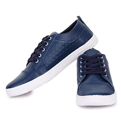 official photos 53091 63277 D-SNEAKERZ Men s Blue Casual Synthetic Leather Sneakers Shoes - 10