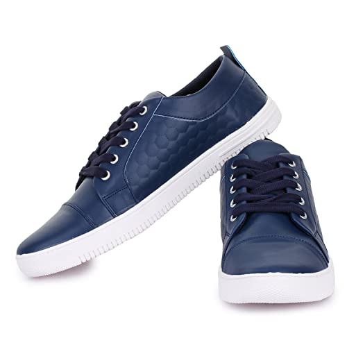 ede296c0504 D-SNEAKERZ Men s Blue Casual Synthetic Leather Sneakers Shoes - 10