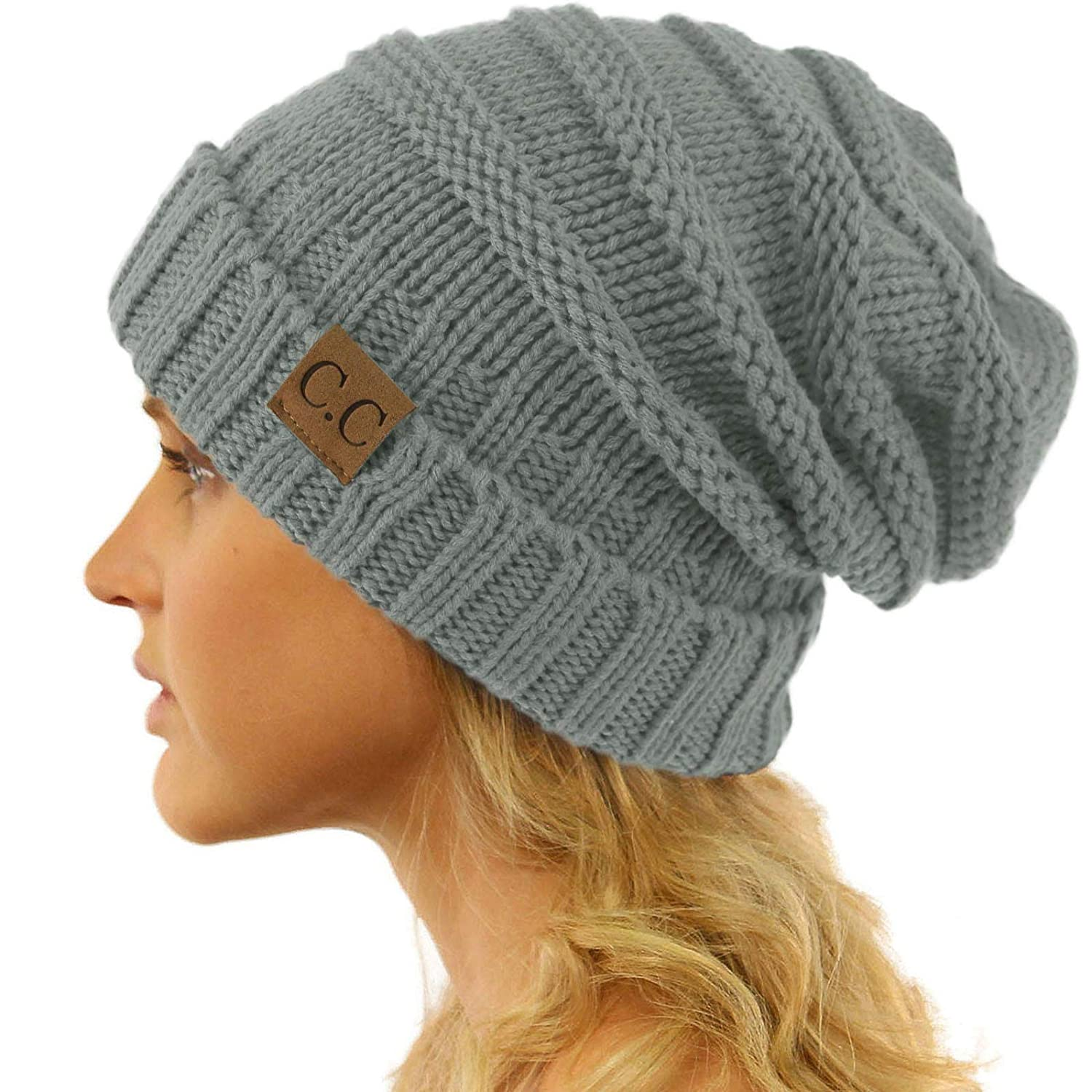 Winter Trendy Warm Oversized Chunky Baggy Stretchy Slouchy Skully Beanie Hat
