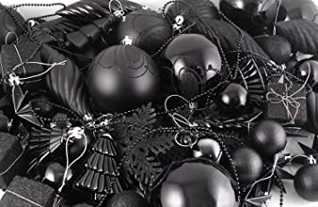 northlight 125ct jet black shatterproof 4 finish christmas ornaments - Black And Silver Christmas Decorations