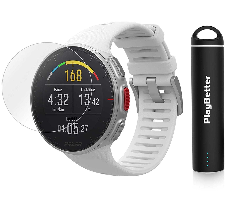 PlayBetter Polar Vantage V Pro マルチスポーツウォッチバンドル ポータブル充電器&スクリーンプロテクター GPS&気圧計 心拍数 ホワイト Power Bundle