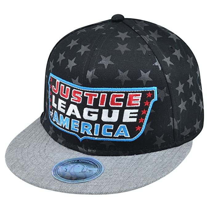 new concept 8ed78 9f39a Amazon.com  DC Comics Justice League of America Heroes Faces of Courage Snapback  Hat Cap  Clothing