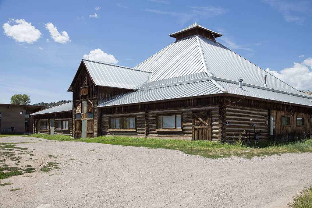 24 x 36 Giclee print ofThe landmark 1897 hay barn that serves as the hub of the Colorado Rocky Mountain School founded in 1953 as a coeducational boarding and day school in Carbondale Colorado. T