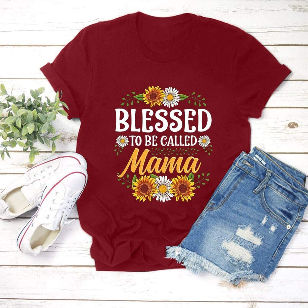Adeliber Mothers Day Womens Large Size Summer Letter Printing Short Sleeve Round Neck T-Shirt Top Vest