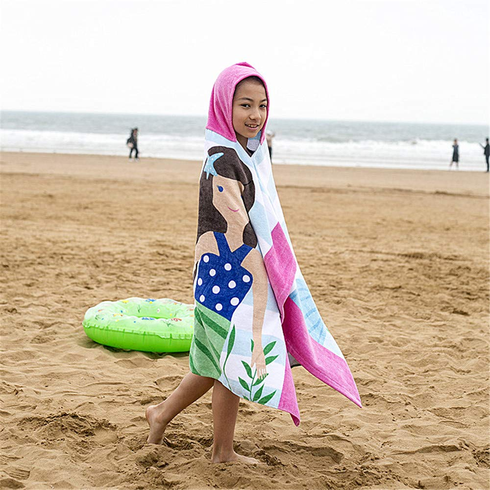 "Super Absorbent /& Soft with Cartoon Beetle Design 25/""x25/"" Cover up for Shower Beach Swim Organic Cotton Toddler Robes Wrap InsHere Wearable Hooded Bath Towel for Kids"